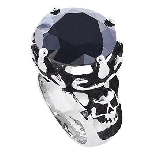 Stainless Steel Round Black Cz And Skull Ring by Ed Hardy Jewelry, Best Quality Free Gift Box Satisfaction Guaranteed - shopvistar