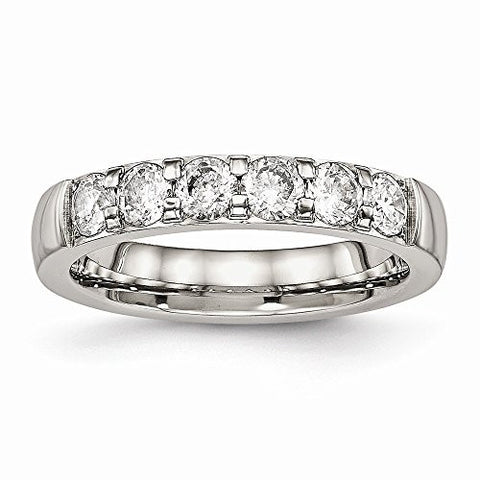 Stainless Steel Polished CZ 4.00mm Band - Size 6 - shopvistar