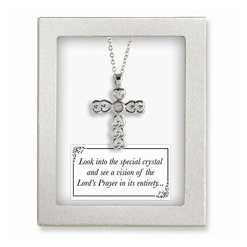 Silver-tone 18in Lords Prayer Crystal Cross Necklace - shopvistar