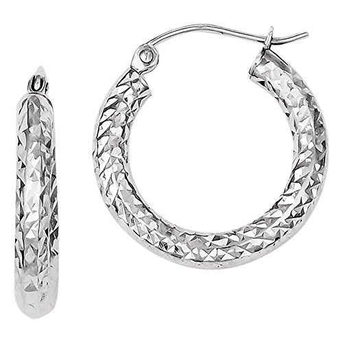Sterling Silver Dia-Cut 3x20mm Hoop Earrings, Best Quality Free Gift Box Satisfaction Guaranteed - shopvistar