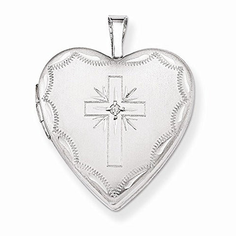 14k 20mm White Gold Diamond Set Cross Heart Locket, Best Quality Free Gift Box Satisfaction Guaranteed - shopvistar