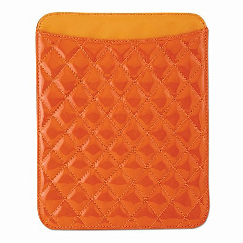 Orange Diamond Pattern Patent Polyurethane IPAD Holder - shopvistar