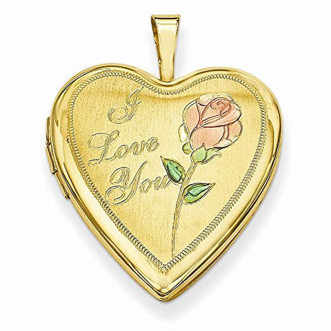 Gold Plated Sterling Silver 20mm D/c I Love You Heart Locket - shopvistar