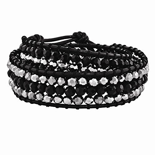 Black Aurora Borealis/grey Crystal Bead & Leather Multi-wrap Bracelet - shopvistar