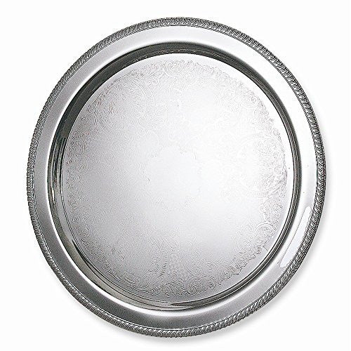 Silver-plated 20 Round Fancy Edge Tray - shopvistar