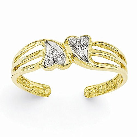 14k Double Heart .02ct Diamond Toe Ring, Best Quality Free Gift Box Satisfaction Guaranteed - shopvistar