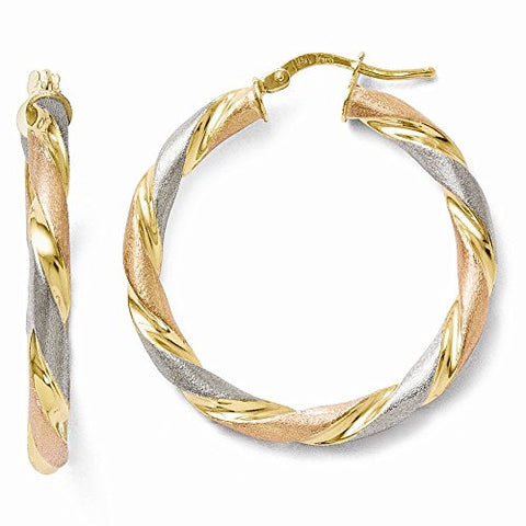 Leslies Sterling Silver Tri-color Twisted Hinged Hoop Earrings - shopvistar