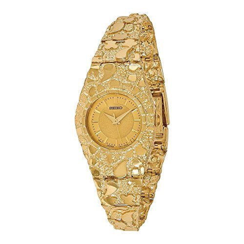 14k Ladies Circular Champagne 22mm Dial Solid Nugget Watch, Best Quality Free Gift Box Satisfaction Guaranteed - shopvistar