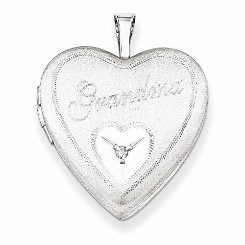Sterling Silver 20mm Grandma With Diamond Heart Locket - shopvistar