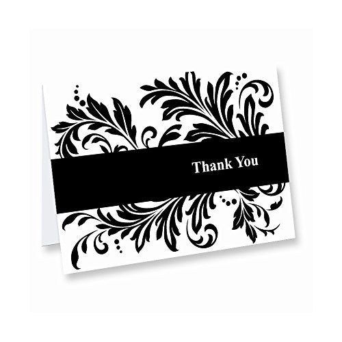 Black & White Flourish Design Thank You (box of 50) Cards - shopvistar
