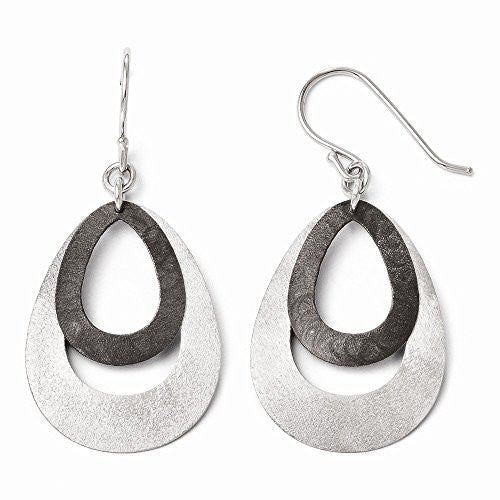 Leslie's SS Ruthenium-plated Polished and Scratch Finish Earrings - shopvistar