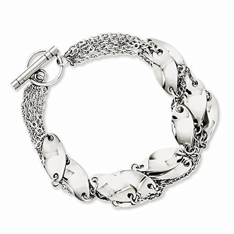 Stainless Steel Polished Swirl 8in Toggle Bracelet - shopvistar