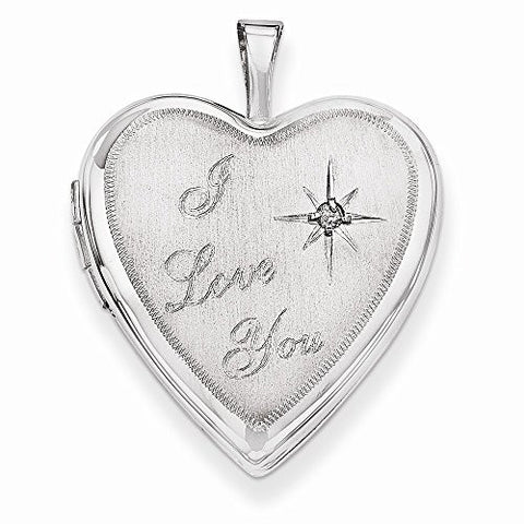 14k 20mm White Gold I Love You W/ Diamond Heart Locket - shopvistar