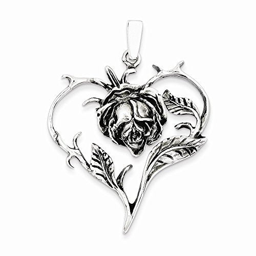 Sterling Silver Antiqued Rose Heart Pendant, Best Quality Free Gift Box Satisfaction Guaranteed - shopvistar