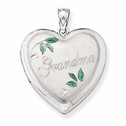 Sterling Silver 24mm Grandma Family Heart Locket, Best Quality Free Gift Box Satisfaction Guaranteed - shopvistar