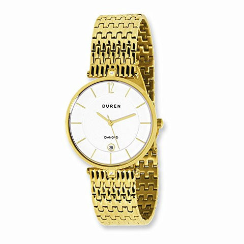 Mens Buren Diamond IP-Gold Plated White Dial Watch - shopvistar