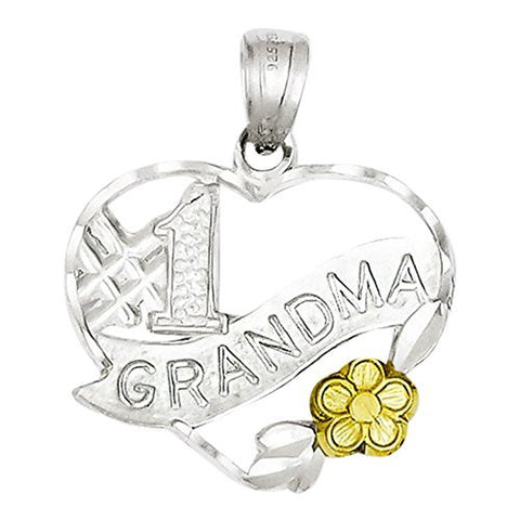 Sterling Silver 1 Grandma Charm, Best Quality Free Gift Box Satisfaction Guaranteed - shopvistar
