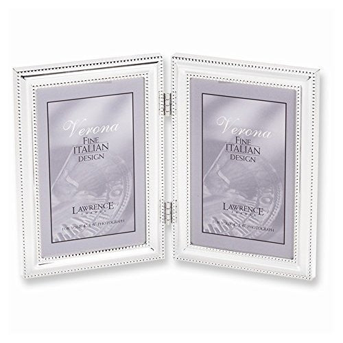 Silver-plated Beaded Edge Double 4x6 Photo Frame - shopvistar