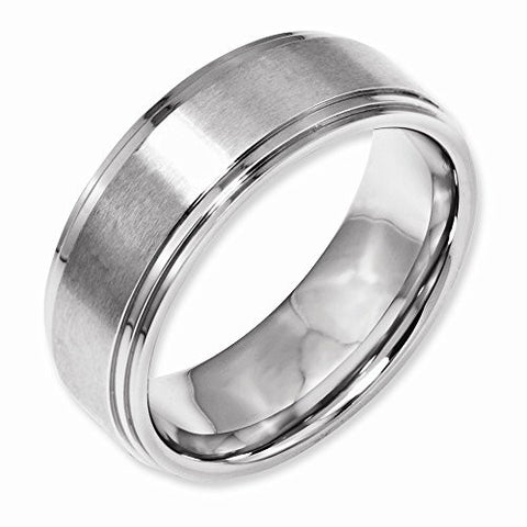 Stainless Steel Ridged Edge 8mm Brushed And Polished Band, Best Quality Free Gift Box Satisfaction Guaranteed - shopvistar