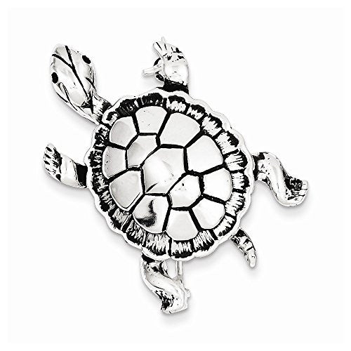Sterling Silver Antiqued Turtle Pin, Best Quality Free Gift Box Satisfaction Guaranteed - shopvistar