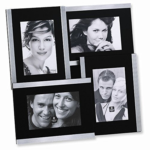 Brushed Metal Collage Holds Four 4x6 Photo Frame - shopvistar