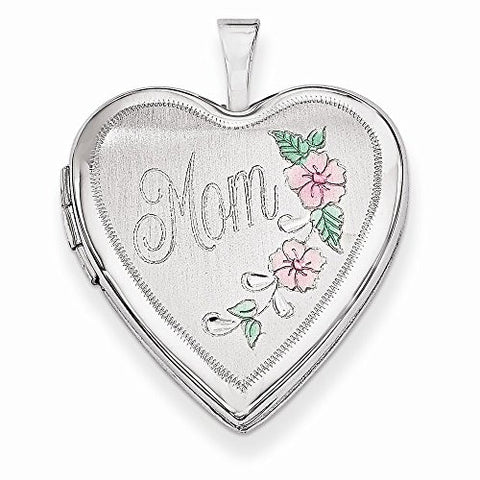 14k 20mm White Gold Enamel Flowers Mom Heart Locket, Best Quality Free Gift Box Satisfaction Guaranteed - shopvistar