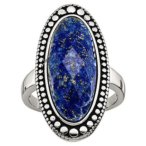Stainless Steel Polished and Antiqued Blue Lapis Ring - shopvistar