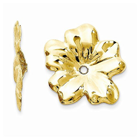 14k Polished Floral Earring Jackets, Best Quality Free Gift Box Satisfaction Guaranteed - shopvistar