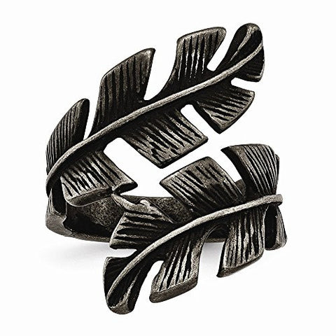 Stainless Steel Antiqued Leaf Wrap Ring - Size 9 - shopvistar