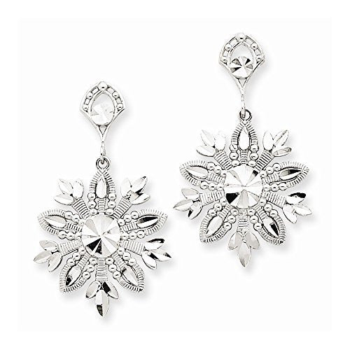 14k White Gold Snowflake Dangle Earrings, Best Quality Free Gift Box Satisfaction Guaranteed - shopvistar