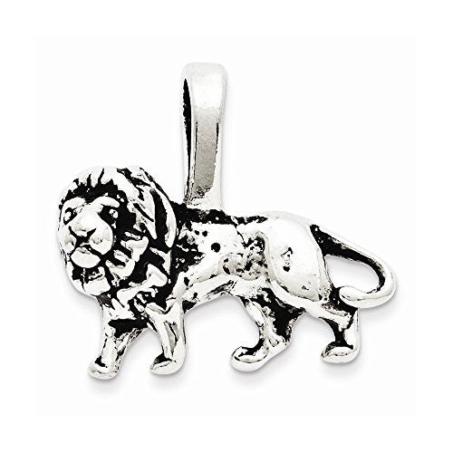 Sterling Silver Antiqued Lion Charm, Best Quality Free Gift Box Satisfaction Guaranteed - shopvistar