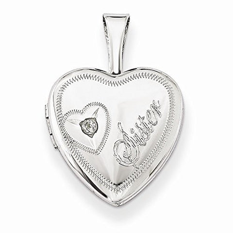 Sterling Silver & Diamond Sister Heart 12mm Heart Locket - shopvistar