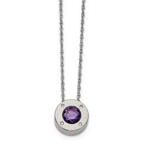 Stainless Steel CZ February Synthetic Birthstone Earrings and Necklace - shopvistar