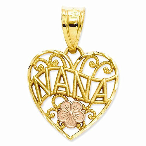 14k Two-tone Nana Heart Pendant, Best Quality Free Gift Box Satisfaction Guaranteed - shopvistar