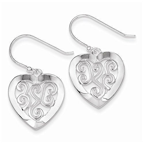 Sterling Silver Etched-design Heart Earrings - shopvistar
