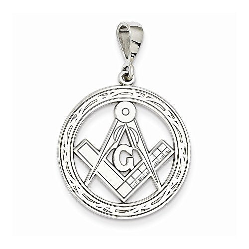 14k White Gold Large Masonic Pendant, Best Quality Free Gift Box Satisfaction Guaranteed - shopvistar