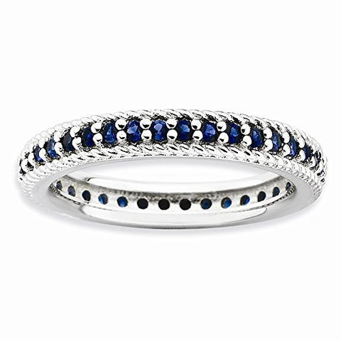 SS Stackable Expressions Polished Created Synthetic Stone Eternity Ring - shopvistar