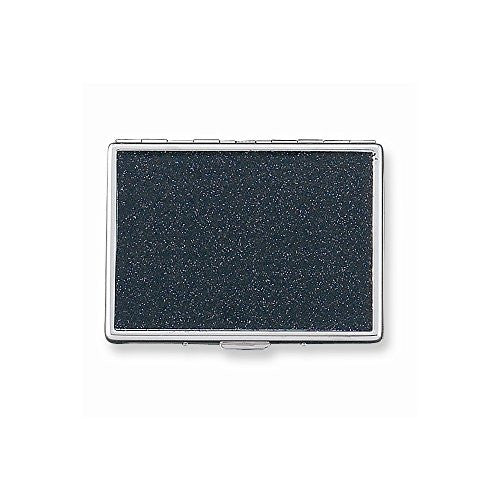 Black Glitter (Holds 9-100mm) Cigarette/Card Case with Mirror - shopvistar