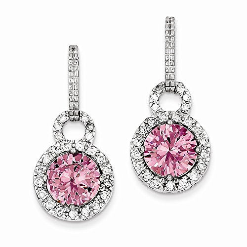 Sterling Silver Pink & Clear CZ Post Earrings - shopvistar