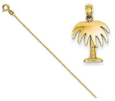 14k Polished Palm Tree Pendant with 14k Chain, Length 16 - shopvistar