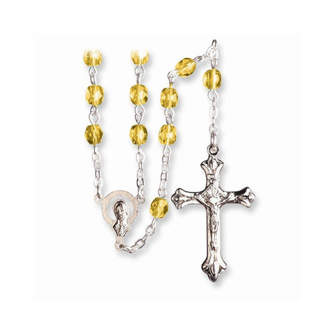 Stainless Steel Cz November Synthetic Stone Earrings and Rosary - shopvistar