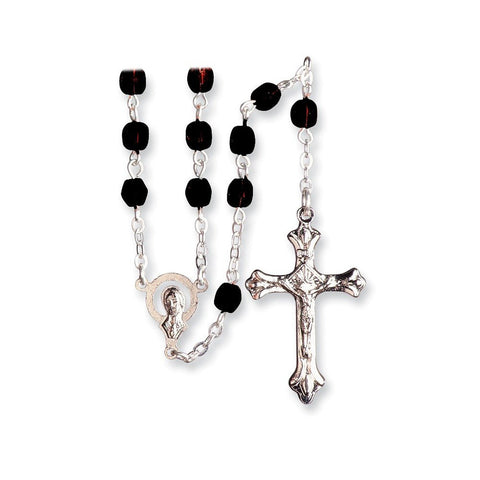 Stainless Steel Cz January Synthetic Birthstone Earrings and Rosary - shopvistar