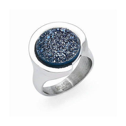 Stainless Steel Polished with Blue Druzy Stone Ring and Earrings Set - shopvistar