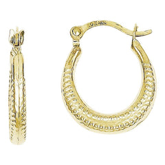10k Scalloped Textured Hollow Hoop Earrings, Best Quality Free Gift Box Satisfaction Guaranteed - shopvistar