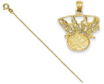 14k Swoosh Basketball and Net Pendant with 14k Chain [24] - shopvistar