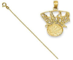 14k Swoosh Basketball and Net Pendant with 14k Chain [18] - shopvistar