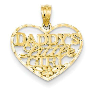 14k D/C Daddys Little Girl Heart Pendant with 14k Chain [24] - shopvistar