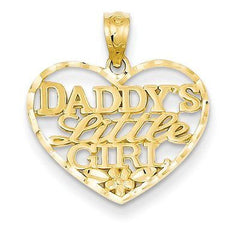 14k D/C Daddys Little Girl Heart Pendant with 14k Chain [16] - shopvistar