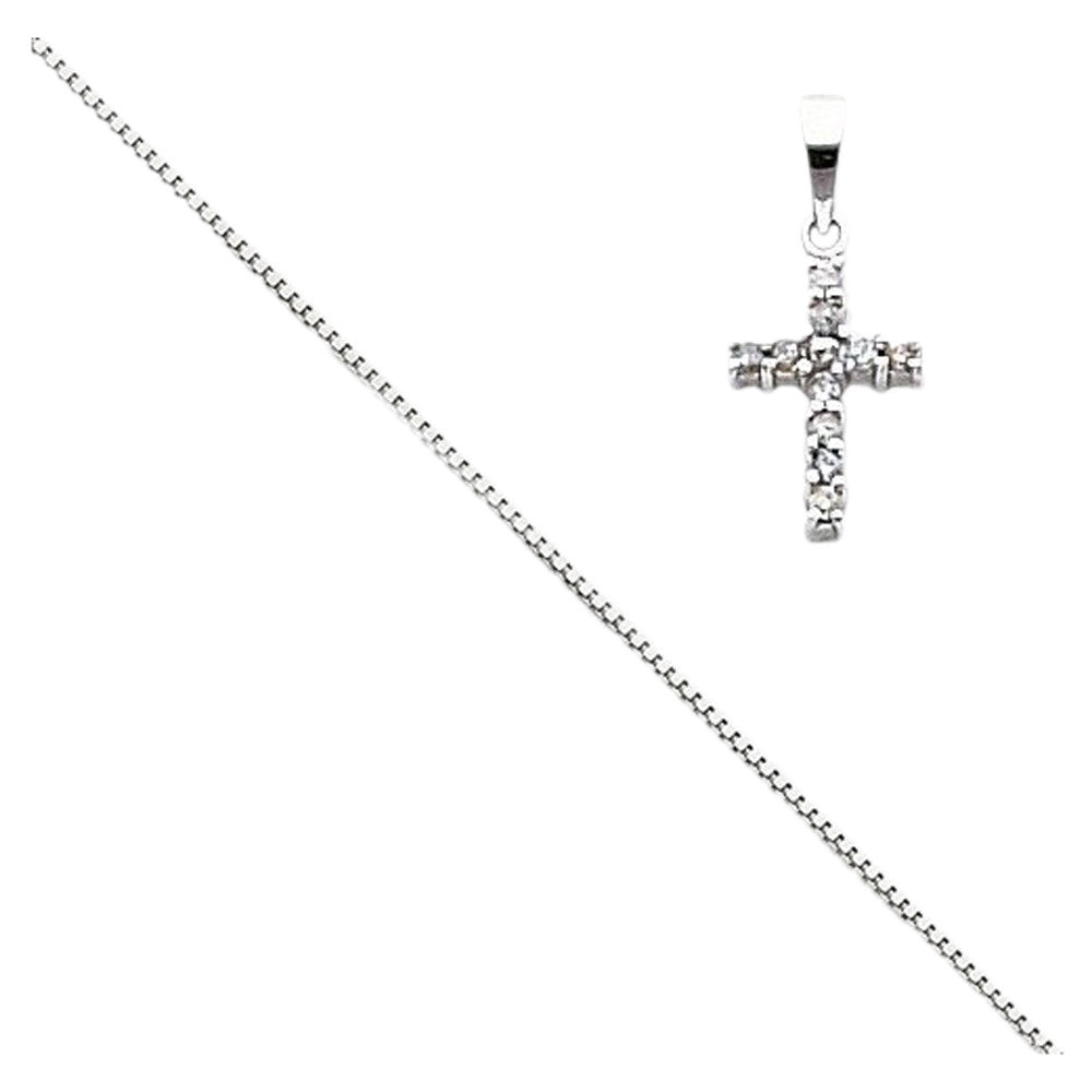 14k White Gold Diamond Latin Cross Pendant with 14k Chain [Jewelry] - shopvistar