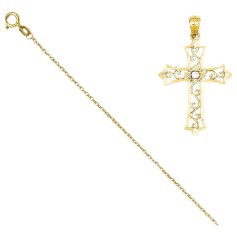 14k Yellow Gold Diamond Cross Pendant with 14k Chain, Length 16 [Jewelry] - shopvistar